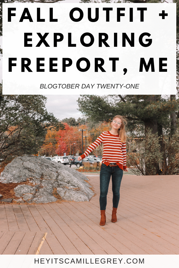 Fall Outfit and Exploring Freeport, Maine   Hey It's Camille Grey #freeportmaine #maine #outfit #falloutfit