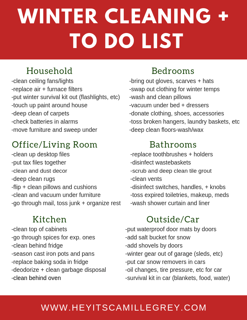 Winter Cleaning and To Do List | Hey Its Camille Grey #cleaning #todo #winter #organize #clean