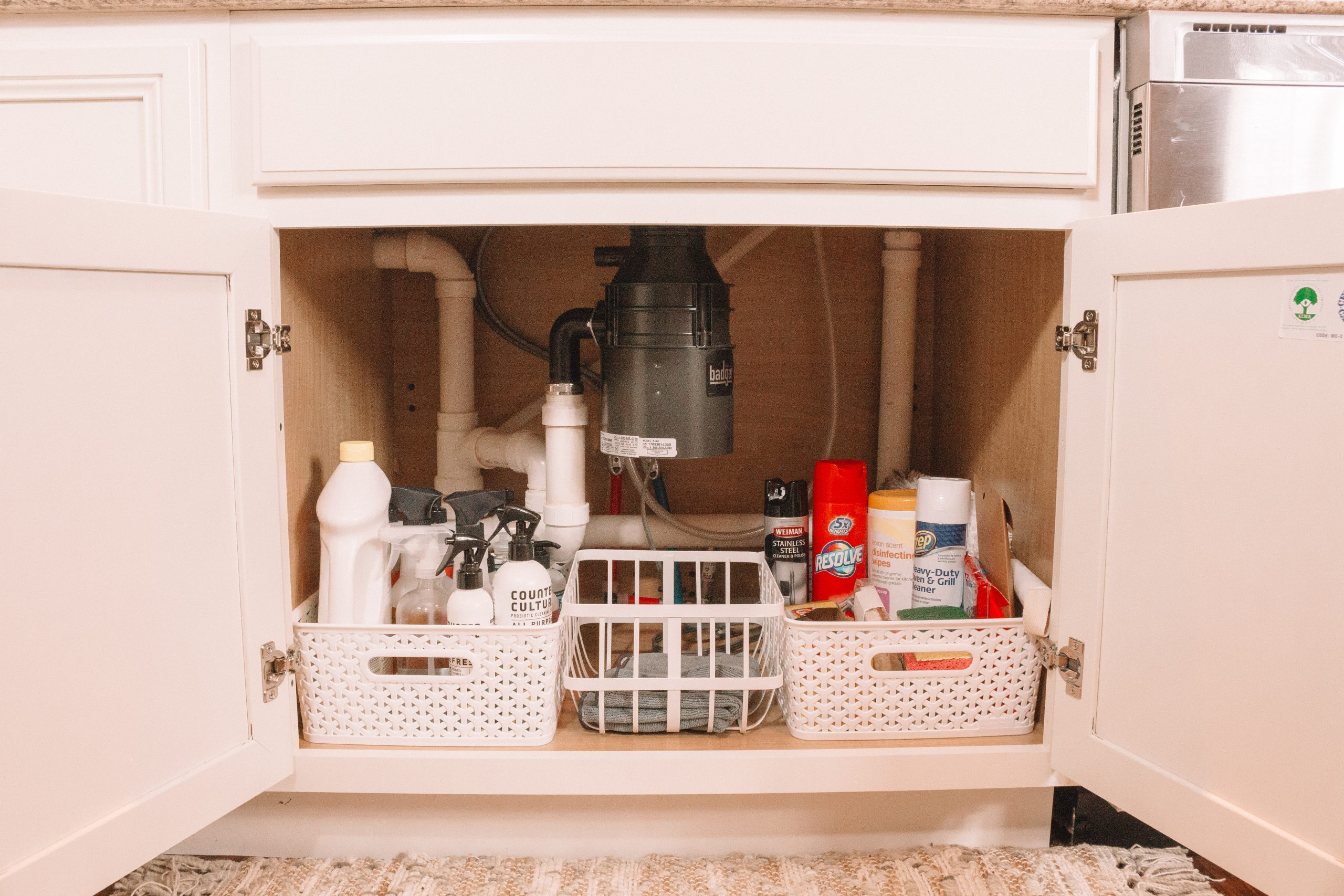 How to Organize under the Kitchen Sink | Hey Its Camille Grey #organize #kitchen #springclean