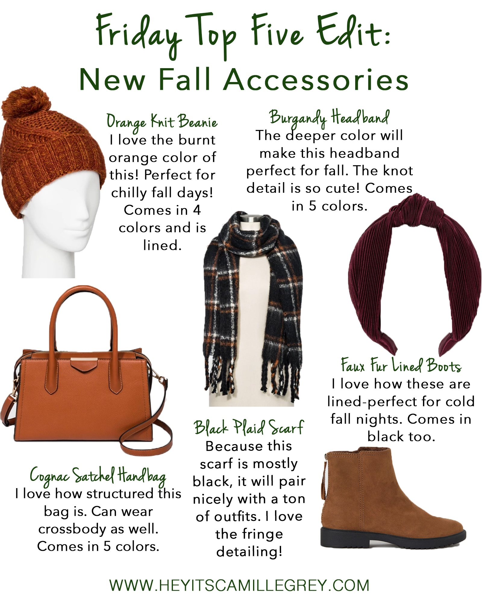 Friday Top Five Edit: New Fall Accessories | Hey Its Camille Grey #fallaccessories #accessories #falltime #beanies #booties #scarves
