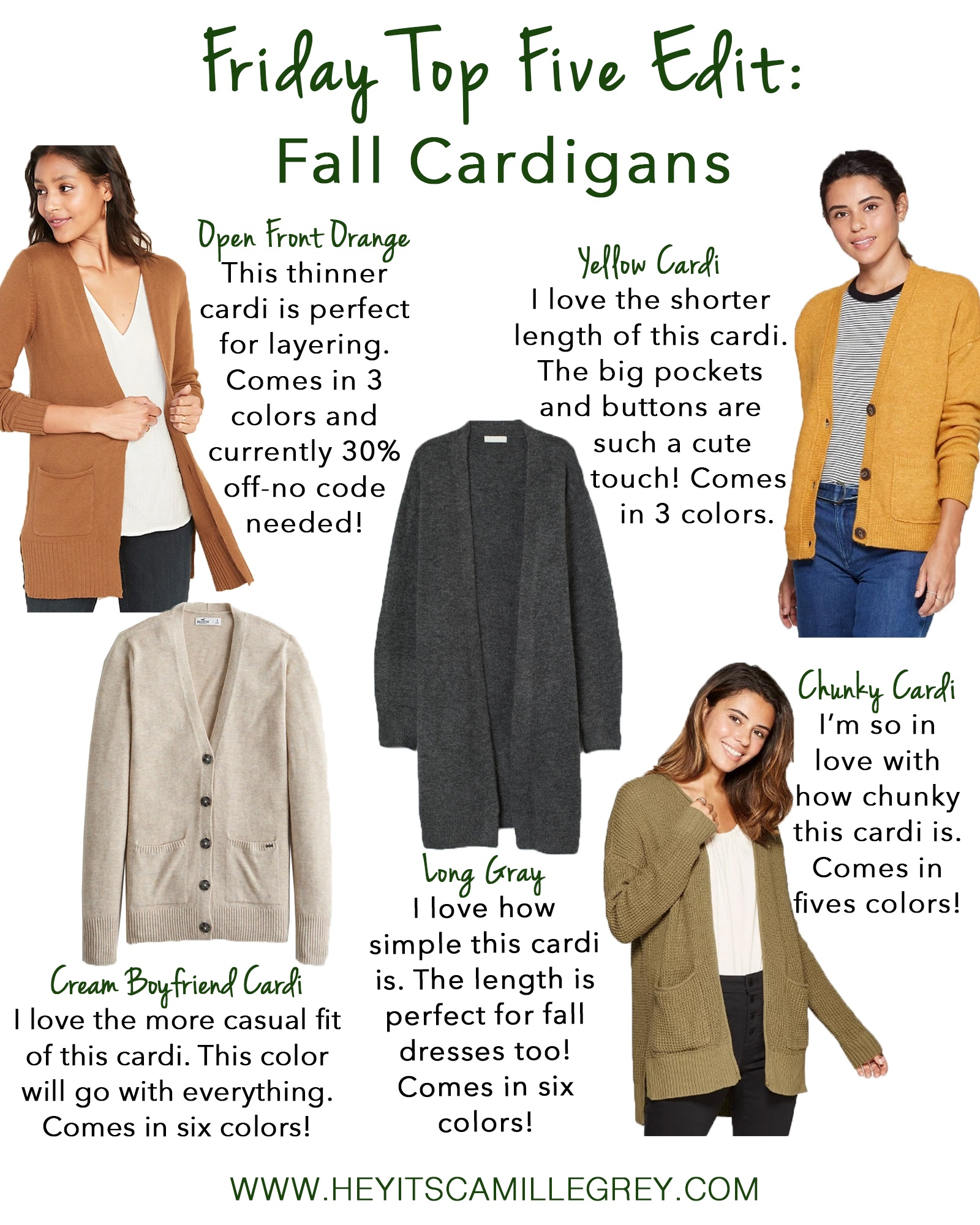Friday Top Five Edit: Fall Cardigans | Hey It's Camille Grey #fall #fallfashion #cardigans #falltime #falloutfits