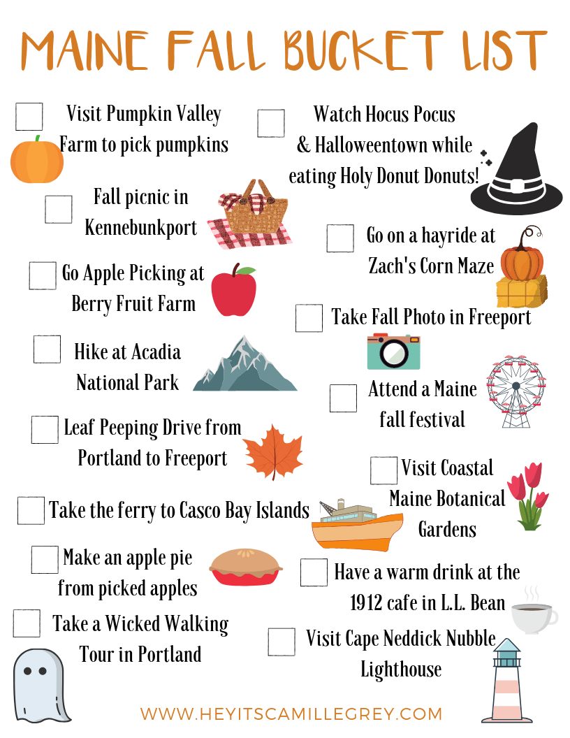 Maine Fall Bucket List | Hey Its Camille Grey #maine #fall #bucketlist #mainefall #hiking #halloween #llbean #applepie #pumpkins