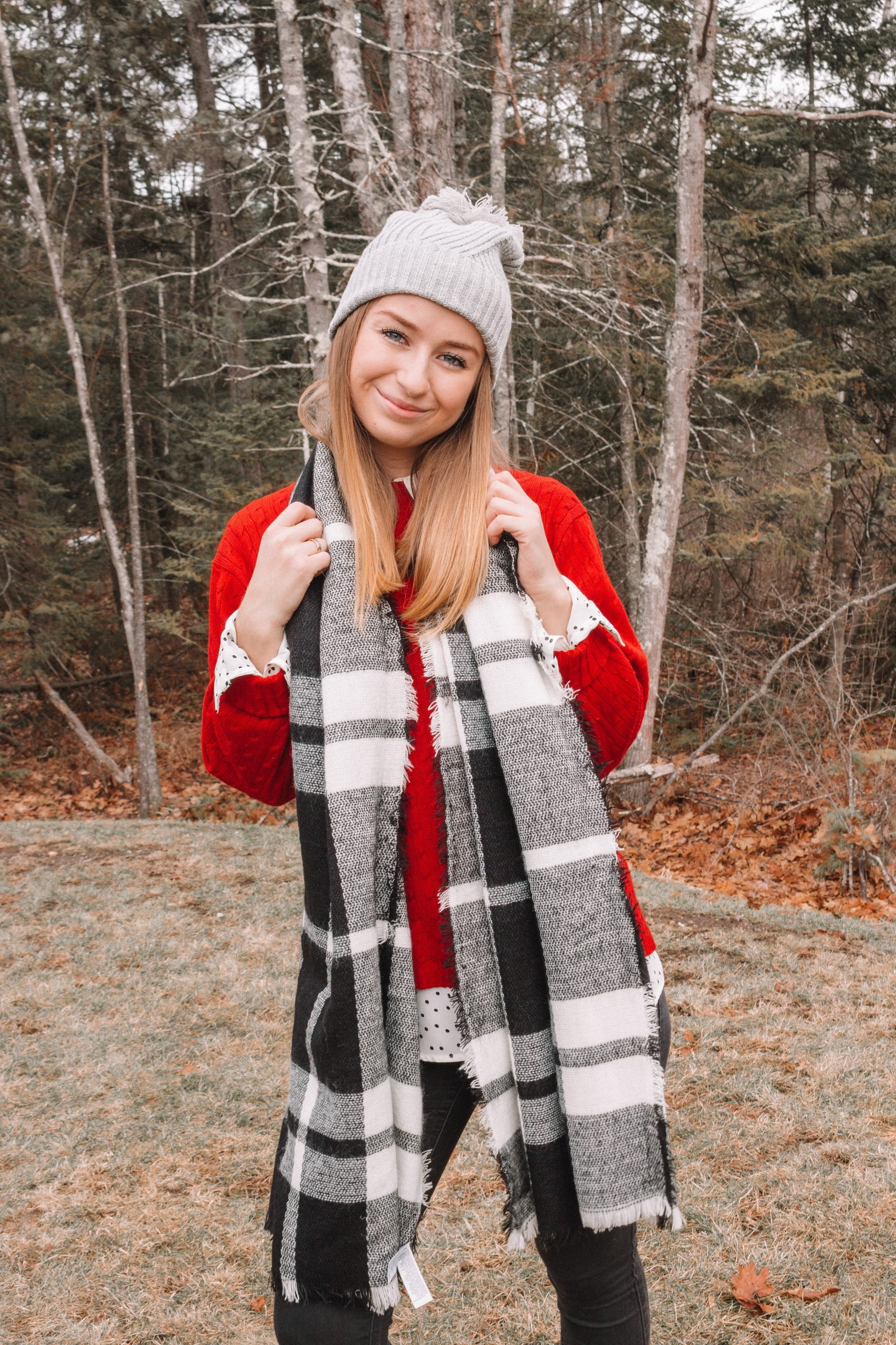 Casual Holiday Look: Plaid Scarves and Red Sweaters | Hey Its Camille Grey